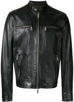 DSQUARED2 zipped panel leather jacket - men - Calf Leather/Polyester - 50