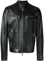 DSQUARED2 zipped panel leather jacket