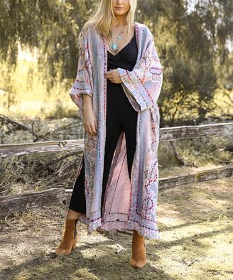 Leto Collection Women's Kimono Cardigans NALINY - Blue & Lavender Embroidered Longline Kimono - Women