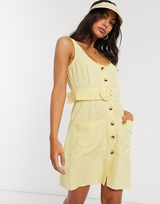 ASOS DESIGN button through linen mini sundress with self covered belt in yellow