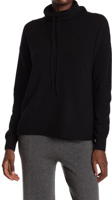 Amicale Cashmere Easy Funnel Neck Pullover Sweater