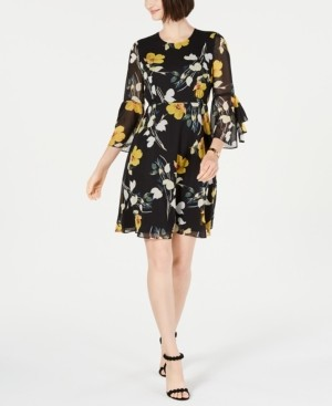 INC International Concepts Inc Floral-Print Bell-Sleeve Dress, Created for Macy's