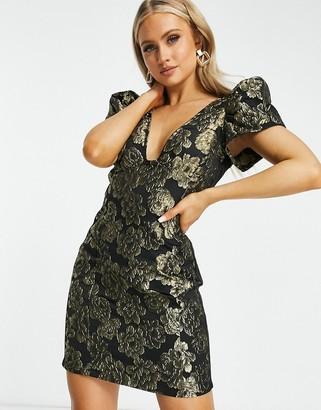 Rare London mini bodycon dress in brocade print