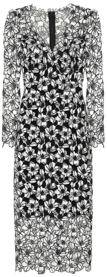 Monique Lhuillier Floral lace midi sheath dress