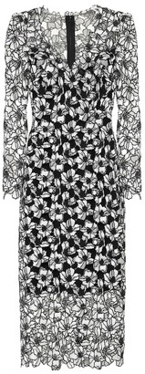 Monique Lhuillier Floral lace midi sheath dress