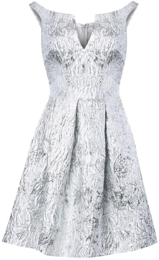 True Decadence Silver White Jacquard Metallic Skater Dress