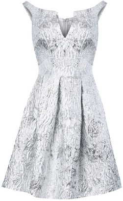 True Decadence Silver White Jacquard Metallic Skater Dress