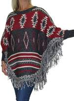 Ice Poncho Cape Jumper Nordic Design Fringe Edge Black Red 4-16