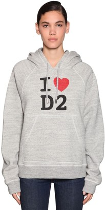 DSQUARED2 Logo Printed Cotton Jersey Hoodie