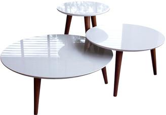 Manhattan Comfort 3- Piece Modern Moore Round End Table