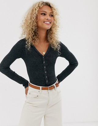 Free People Keep Your Cool long sleeved button down bodysuit