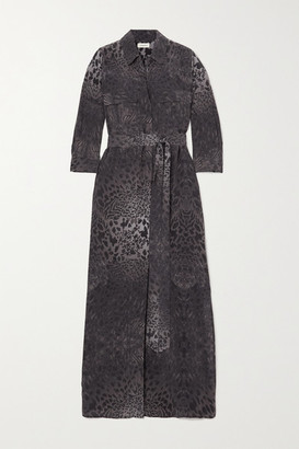 L'Agence Cameron Belted Animal-print Silk Midi Shirt Dress - Black