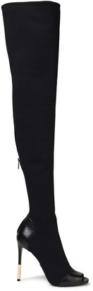 Balmain Leather-trimmed Stretch-mesh Thigh Boots