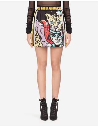 Dolce & Gabbana Short Satin Skirt With Super Heroine Print