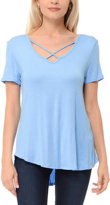 Shamaim Women's Tee Shirts BOY - Boy Blue Strap-Accent V-Neck Tee - Women