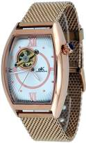 Adee Kaye #AK6473-MRG Men's Rose Gold Tone Mesh Band Open Heart Skeleton Automatic Watch
