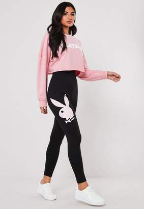 Missguided Playboy X Black Loungewear Leggings