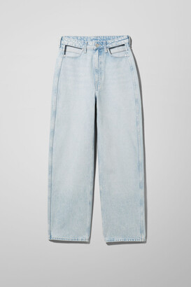 Weekday Lasso Cut Out Denim Trousers - Blue