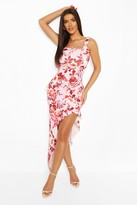 boohoo Floral Print Square Neck Ruffle Maxi Dress