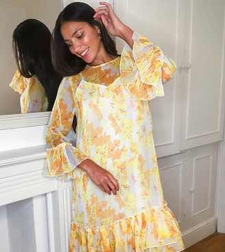Y.A.S Tall smock dress with mesh overlay in yellow floral