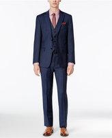 Calvin Klein Men's Extra-Slim Fit Blue Tonal Windowpane Vested Suit