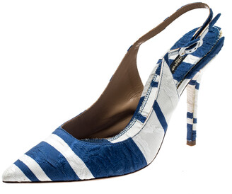 Dolce & Gabbana Blue and White Stripe Brocade Fabric Pointed Toe Slingback Sandals Size 40