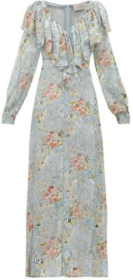 Preen by Thornton Bregazzi Iris Floral Devore-velvet Dress - Light Blue