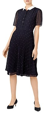 Hobbs London Hailey Polka Dot Pleated Shirt Dress