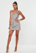 Missguided Grey Satin Cowl Cami Slip Mini Dress