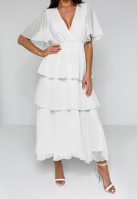 Missguided White Dobby Mesh Wrap Tiered Midi Dress