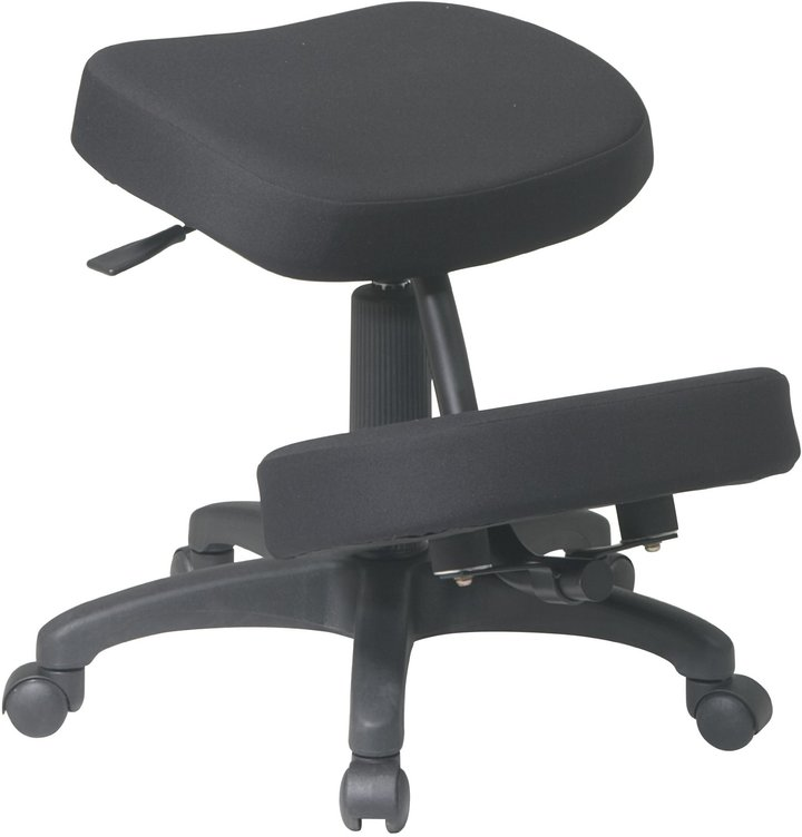 Office Star KCM1425 Ergonomically Designed Knee Chair with Casters, Memory Foam and 5 Star Base