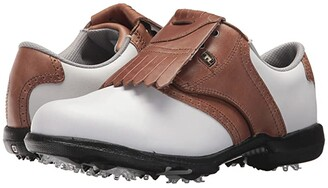 Foot Joy FootJoy DryJoys Cleated Traditional Blucher Saddle (White/Khaki/Luggage Brown) Women's Golf Shoes