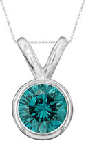 JCPenney FINE JEWELRY 1/2 CT. T.W. Color-Enhanced Blue Diamond Solitaire Pendant Necklace