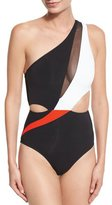 Jets Electrify Colorblock & Mesh One-Shoulder Swimsuit, Black/Flame