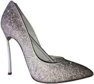 Casadei White Glitter Heels