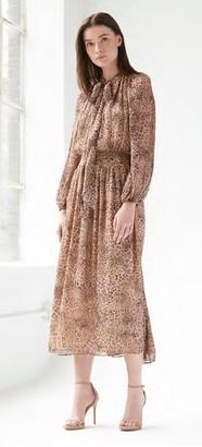 ML Monique Lhuillier Long Sleeve Camel Multi Midi-Tea Dress