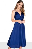 Little Mistress Navy Satin Midi Dress