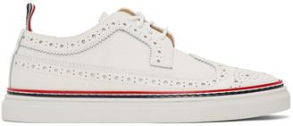 Thom Browne White Longwing Brogue Sneakers
