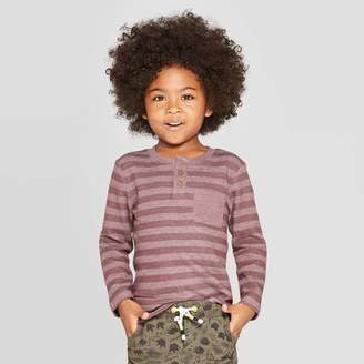 Cat & Jack Toddler Boys' Specialty Rib Henley Long Sleeve T-Shirt Burgundy