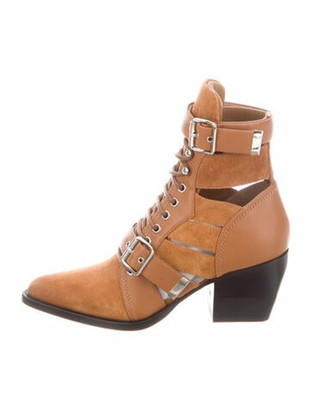 Chloé Suede Cutout Accent Lace-Up Boots Brown
