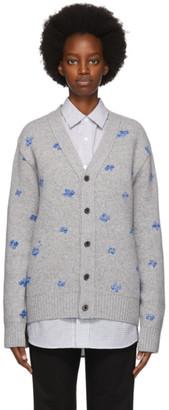 Ader Error Grey Wool Bluessom Cardigan
