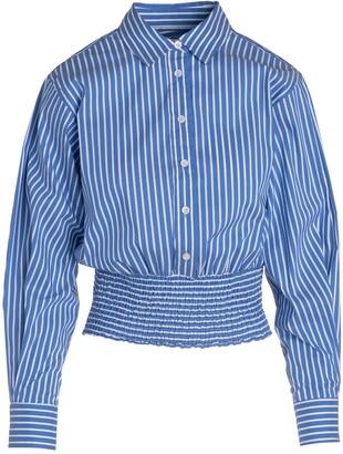 Stripe Smocked Hem Button-Up Shirt