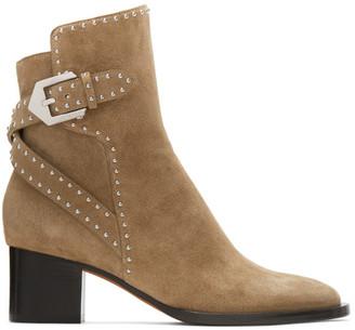 Givenchy Beige Suede Elegant Stud Heel Ankle Boots
