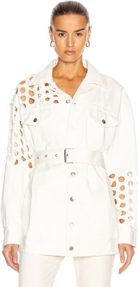 Maison Margiela Cutout Long Sleeve Belted Jacket in White | FWRD