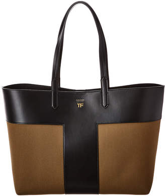 Tom Ford East/West Graphic T Canvas & Leather Tote