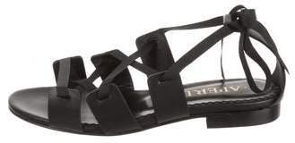 Aperlaï Leather Lace-Up Sandals