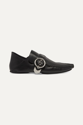Loewe Buckled Collapsible-heel Leather Loafers - Black