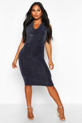 boohoo Glitter Shimmer Cowl Neck Midi Dress