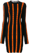 Versace striped love logo ribbed dress