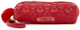 Betsey Johnson Quilted Hearts Faux Fur Pompom Pencil Case